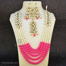 pink beads necklace images Pink bead necklace set mala with kundan pearl string buy online jpg