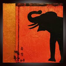 Feng Shui Painting Abstract Painting Red Elephant Prosperity Art Motivational