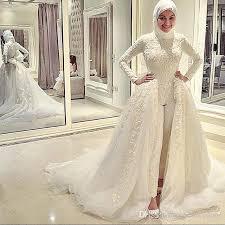 wedding dress jumpsuit exquisite muslim wedding jumpsuits for 2017 appliques sleeve