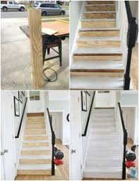 painted staircase makeover with seagrass stair runner staircase
