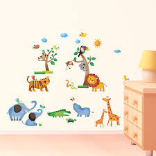 nursery wall stickers amazon co uk decowall dw 1206 wild jungle animals kids wall stickers wall decals peel and stick removable