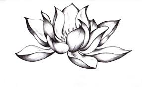 awesome black ink lotus flower design by chelsea