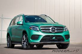 wrapped cars mercedes benz gls 500 matte metallic emerald green wrap modern image