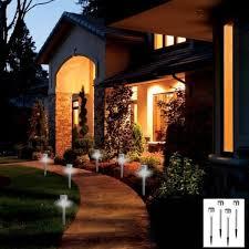 8 pack stainless steel outdoor led solar garden stake lights