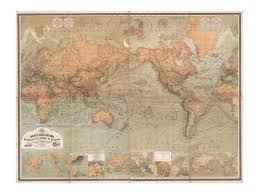 World Map Prints by Map Of The World Antique World Map Vintage Art Print Wall