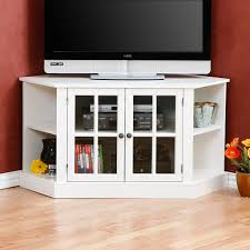 Corner Cabinet With Glass Doors White Wooden Corner Cabinet With Double Glass Doors Also Shelves
