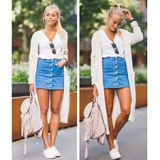 denim skirt fashion women button denim skirt high waist bodycon slim pencil
