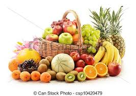 basket of fruits composition with assorted fruits in wicker basket isolated
