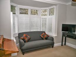 cafe style shutters on 5 sided bay window westwood blinds