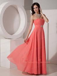 quince dama dresses watermelon empire strapless floor length chiffon beading