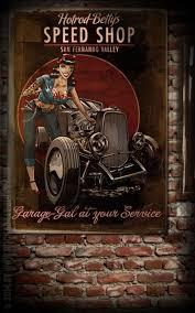 rumble59 poster hotrod betty u0027s speed shop wanddeko