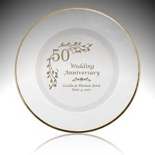 glass floral 50th anniversary plate with gold