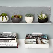 silver mesh wall shelf the container store