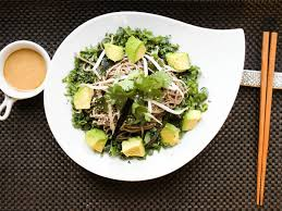 cold soba noodles with kale avocado and miso sesame dressing