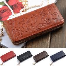 leather women s wallet pattern new fashion the best genuine leather zip around flower pattern lady