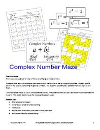 complex number imaginary maze review worksheet by caryn loves