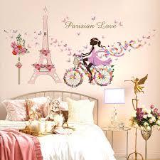 stickers chambre fille feerique romantique sticker mural pour enfants chambres tour eiffel