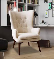 buy charming tufted wing back chair in beige colour by dreamzz