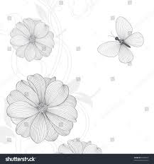 hand drawing floral background butterfly vector stock vector