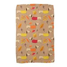 thanksgiving wiener and fall dachshund dish towels the