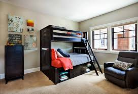 black wooden bunk bed with ladder and drawers also racks connected