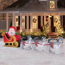 Christmas Decorations Outdoor by Airblown Inflatable Santa U0026 Dogsled Scene 12 5 U0027 Christmas