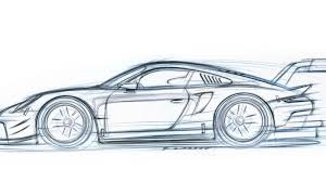 porsche concept sketch even the sketch of the new mid engine porsche 911 rsr race car is