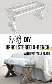 diy upholstered x bench using 2 x 4 boards with plans anika u0027s