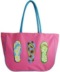flip flop bag tote bag with three painted flip flops by ipaintitpretty on etsy
