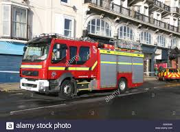 red volvo truck a red volvo fire truck of east sussex fire u0026 rescue attending an
