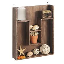 amazon com wall mounted wood cubby display storage shelving unit