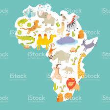 Cartoon World Map by Animals World Map Africa Colorful Cartoon Vector Illustration