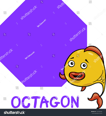 cartoon illustration octagon basic geometric shape stock cartoon illustration of octagon basic geometric shape with funny fish character for children education