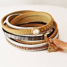 bracelet leather gold images Gold leather bracelet soona new york jpg