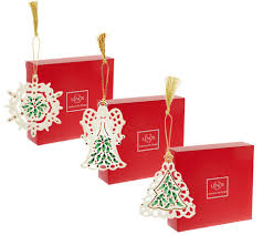lenox s 3 holiday porcelain ornaments with gift boxes page 1
