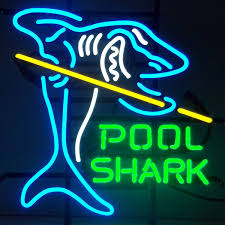 pool shark with cue stick neon rec room sign game room decor
