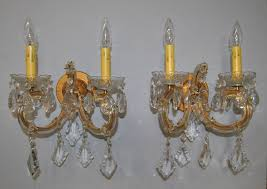 Vintage Crystal Sconces Vintage Pair Two Arm Crystal And Brass Tone Wall Sconces