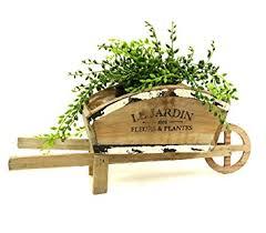 Wooden Wheelbarrow Planter by Vintage Style Wooden Wheelbarrow Planter French Country Amazon Co