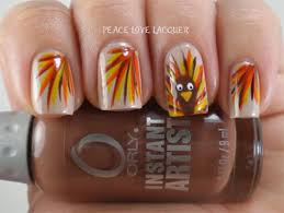 stripes design with turkey thanksgiving nail
