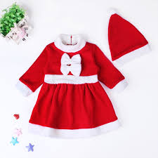 baby girls christmas bowknot dress with hat santa claus cosplay