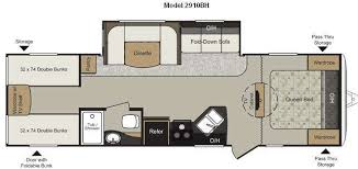 Camper Floor Plans With Bunk Beds Google Search Interesting - Travel trailer with bunk beds