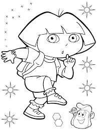 popular character free coloring activity dora the explorer tiptoe