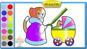 learn colors for kids and color mommy cat with baby kitten