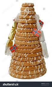 traditional norwegian marzipan ring cake kransekake stock photo