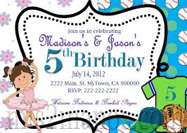 baseball and ballerina birthday invitation mis2manos