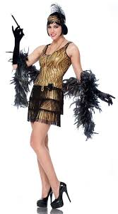 Halloween Flapper Costumes Gold Broadway Flapper Costume
