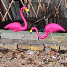 pink flamingo lawn ornaments 1 pair pink plastic flamingos garden courtyard lawn decoration
