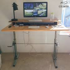 Dual Desk Home Office Furniture Adjustable Standing Desk With Dual Monitor Holder And