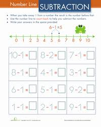 kindergarten number lines subtraction color by number color the fish worksheet