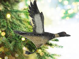 carved wood common loon ornament